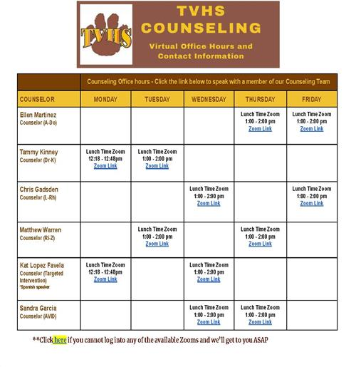 Counseling Office Hours